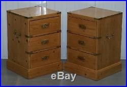 Rare Pair Of Vintage Pitch Pine Campaign Drawers Ideal Lamp Wine Bedside Tables