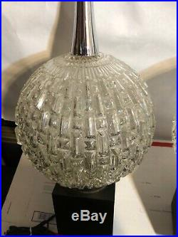 Rare Vintage Stunning Pair of Mid Century Table Lamps Glass Ball & Chrome MCM