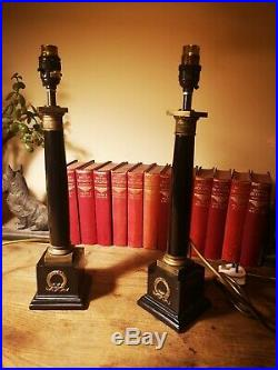 Rare pair of 1998 Vintage Chelsom Lamps Black & gold column Table Lamps 17/42cm