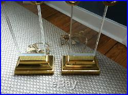 Rare table lamps lucite brass heavy exceptional pair best u can find mid century