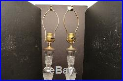 SET 2 Waterford Crystal Alana Accent Table lamps electric Pair Large 24 tall