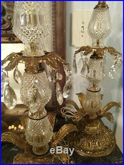 STUNNING pair Of Vintage Hollywood Regency Brass Lamps With Teardrop crystals