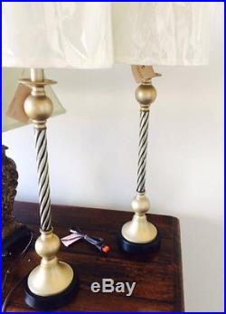 Set/2 Twisted Rope Table Lamp Antique Silver Pair Column Buffet Candlestick Gold