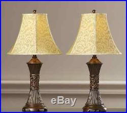Shawe Pair Table Lamps Vintage Bell Shade 3-way, mid glass century modern base