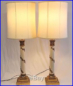 Stiffel Neoclassical Column Brass Table Lamps Pair Vintage Drum Shades Torchiere