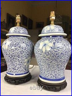 Stunning Pair Blue / White Oka Style Lidded Ginger Jar Table Lamps 18 Tall