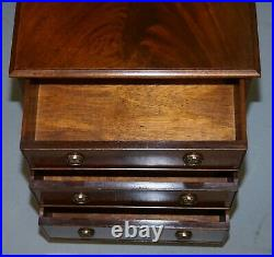 Stunning Pair Of Flamed Mahogany Bedside Lamp Wine Table Sized Chests Of Drawers