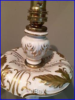 Stunning Pair Of Large Antique/vintage Porcelain Table Lamps 21 Inch Tall