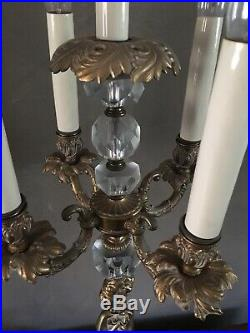 Stunning Pair Vintage Cherub Electric Candelabra Lamps Brass Crystal French