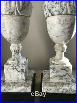Stunning Pair of Matching Vintage Solid Marble Urn Table Lamps HUGE 26