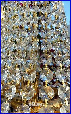 Stunning Vintage Pair of French Basket Style Crystal Prisms table Lamp 35
