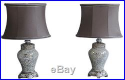 Table Lamps Pair Antique Silver & Sparkle Mosaic Base Taupe Shade 46cm Height