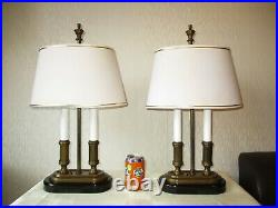 Tall Pair Of Heavy Solid Brass French Bouillotte Table Lamps + Vintage Shades