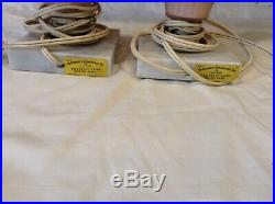 Underwriters Laboratories Antique Glass Pink Lamp On Marble Pair Working