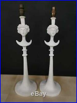 Unusual pair of Giacometti plaster table lamps