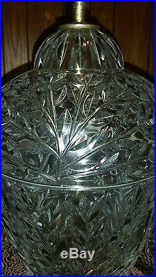Vintage Pair Carl Falkenstein Etched Crystal Table Lamps 35 Tall