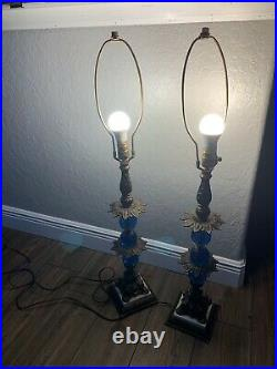 VINTAGE PAIR OF BRASS LAMPS 37 tall/ WITH 3-DIAMOND CUT BLUE GLASS BULBS