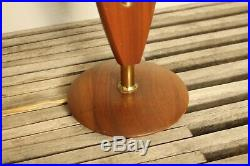 VINTAGE PAIR OF MID CENTURY TEAK WOOD & BRASS TABLE LAMPS With ORIGINAL SHADES