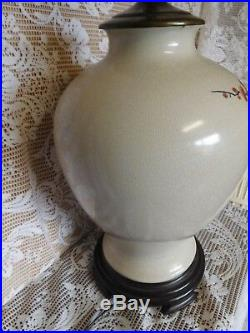 VTG. Pair of Oriental Chinese Hand Painted Ginger Jar WILDWOOD LAMP Co FREES&H
