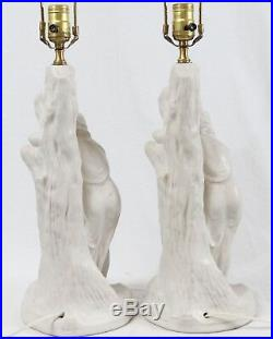 Van Briggle Pottery Rebecca at the Well White Table Lamps Pair Vintage Shades