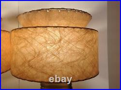 Vintage 1950's Asian Figures Pair of Table Lamps Eames Era