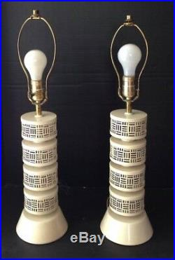 Vintage 1950's Mid Century Modern Atomic Matching Pair Of Table Lamps