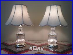 Vintage Crystal Lamps, Shades and Brass Tone Hardware Pair of 2