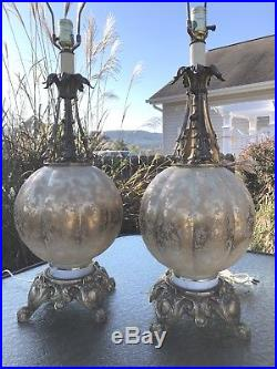 Vintage Hollywood Regency Murano Italy Glass Gold Large Table Lamps MCM Pair