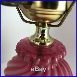 Vintage Hurricane Table Lamp Matched Set Pair Pink Cranberry Swirl Glass Painted