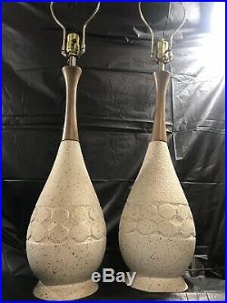 Vintage Matched Pair Mid Century Atomic Catch Ceramic Lamps California Pottery