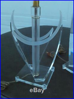 Vintage Mid Century Modern Thick Pair Of Lucite Table Lamps Van Teal Style