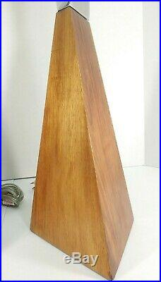 Vintage Mid Century Style Modern Wood and Silver Toned Lamps 1 Pair Table Lamps