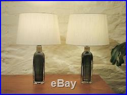 Vintage PAIR orrefors crystal table lamps by Carl Fagerlund RD 1406 Signed c1970