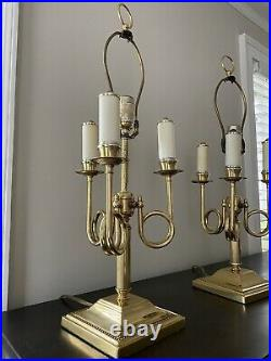 Vintage Pair Brass Bouillotte 3 Arm French Horn Candle Stick Table Desk Lamp