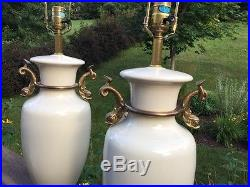 Vintage Pair CHAPMAN 1986 Hollywood Regency Porcelain Brass Dolphin Fish Lamps
