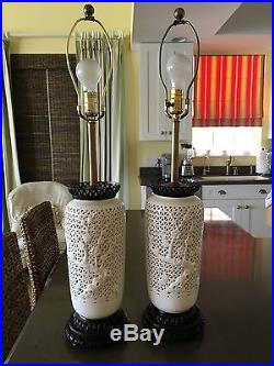 Vintage Pair Charleton Japanese Reticulated Cherry Blossom Table Lamps