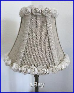 Vintage Pair French Boudoir Lamps Porcelain Roses Flowers Leaves Gilt and Shades