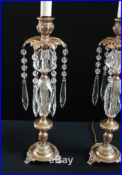 Vintage Pair French Brass Crystal Candlestick Vanity