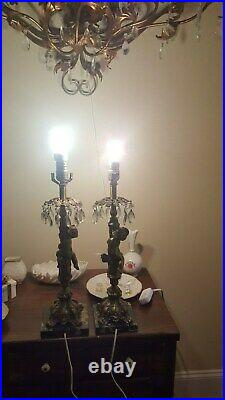 Vintage Pair French Regency Brass CHERUB and CRYSTAL DROPS Table Lamps