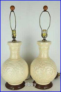 Vintage Pair Mid Century Glazed Ceramic Wood Base Electric Table Lamps 27.5 T