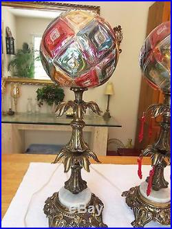 Vintage Pair Of Art Deco Table Lamps Brass & Marble Glass Globe Shades Gilbert