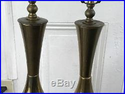 Vintage Pair Of Mid Century Modern Retro Table Lamps Gold Brass Mcm