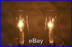 Vintage Pair of Cut & Etched Crystal Glass Hurricane Lamps and Prisms Electric
