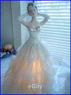 Vintage Pair of Doll Lamps White Dresses Lady Night Table 3 way lamp works MCM