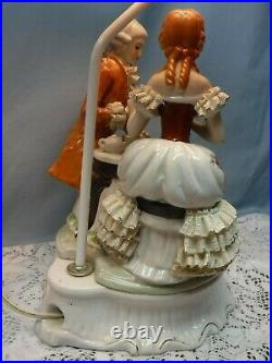 Vintage Porcelain Table Lamp & Shade of Victorian Couple Lace