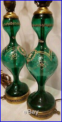 Vintage Table Lamps Green Glass Painted Gilded Gold Beautiful Pair