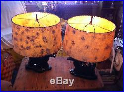 Vtg 1950's Mint Horse Equestrian Table Lamps pair- WithFiberglass Shade