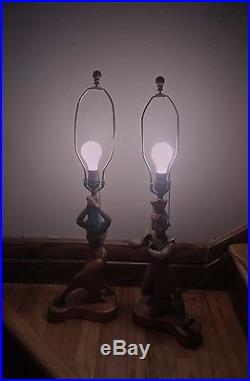 Vtg 1951 Pair Stern Chalkware Table Lamps Copper Egyptian Dancers Man Woman