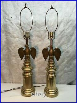 Vtg Ceramic and Brass American Eagle Patriotic Table Lamps Mid Century PAIR