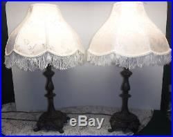 Vtg Pair 3 Way Art Nouveau Metal Table Lamps with Off White Fringe Shades